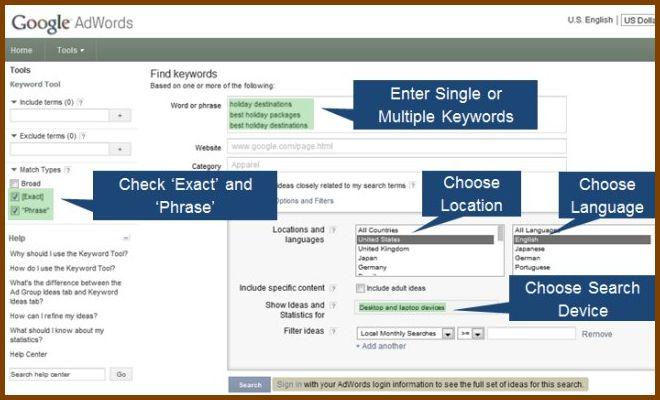 Google Adwords Keyword Tools