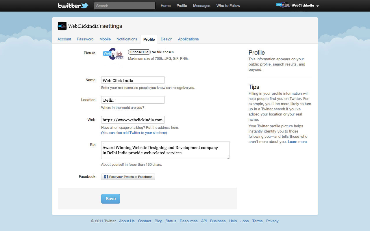 Add Bio And Website Details In Setting Section