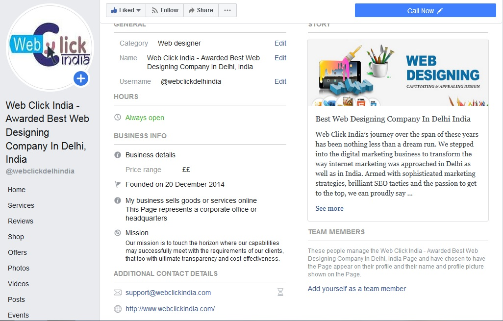 Add Facebook Page Information
