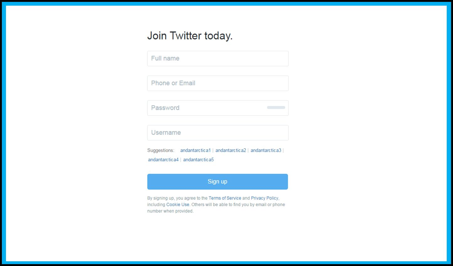 Signup Your Account On Twitter